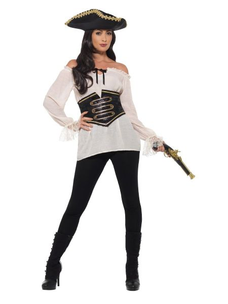 Deluxe Pirate Shirt Ladies - White